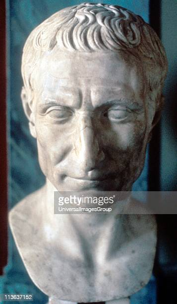Julius Caesar Roman soldier and statesman Marble bust of 50 BC Vatican Museum Rome