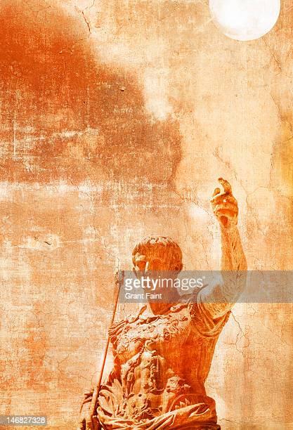 Julius Caesar statue on a textured background