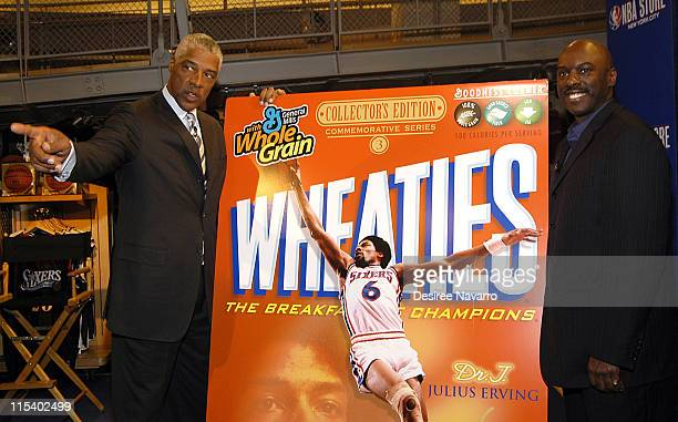 Julius Dr J Erving and Eric Lucas during Dr J Soars Onto the Wheaties Box at NBA Store in New York City New York United States