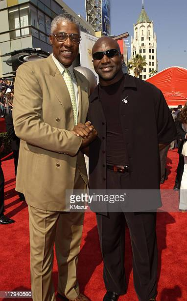 Julius 'Dr J' Erving and Evander Holyfield during 2002 ESPY Awards Arrivals at The Kodak Theater in Hollywood California United States