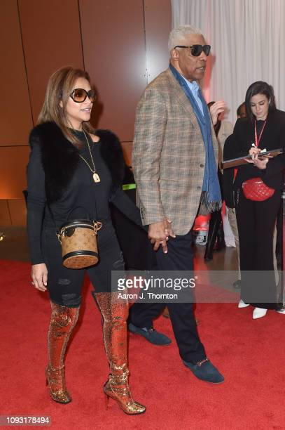 Julius 'Dr J' Erving arrives to Michael Rubin's Fanatics Super Bowl Party at the College Football Hall of Fame on February 2 2019 in Atlanta Georgia