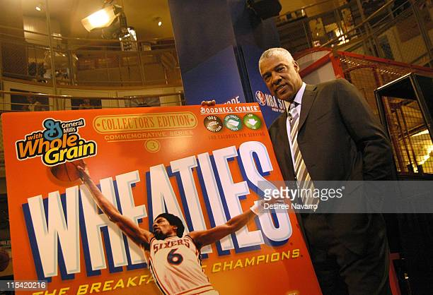 Julius Dr J Erving during Dr J Soars Onto the Wheaties Box at NBA Store in New York City New York United States