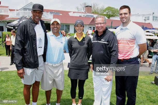 "Julius "" Dr. J"" Erving, Herman Edwards, Michelle Wie, Ron Jworski and Joe Flacco attend the Ron Jaworski's Celebrity Golf Challenge May 20, 2013 at..."