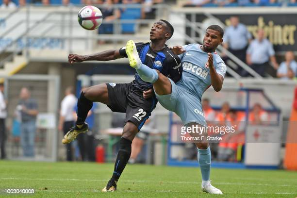 Julius Dueker of Paderborn runs with the ball during the friendly match between SC Paderborn and AS Monaco at Benteler Arena on July 21 2018 in...