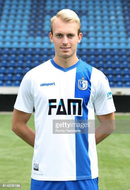 Julius Dueker poses during the team presentation of 1 FC Magdeburg at MDCCArena on July 13 2017 in Magdeburg Germany