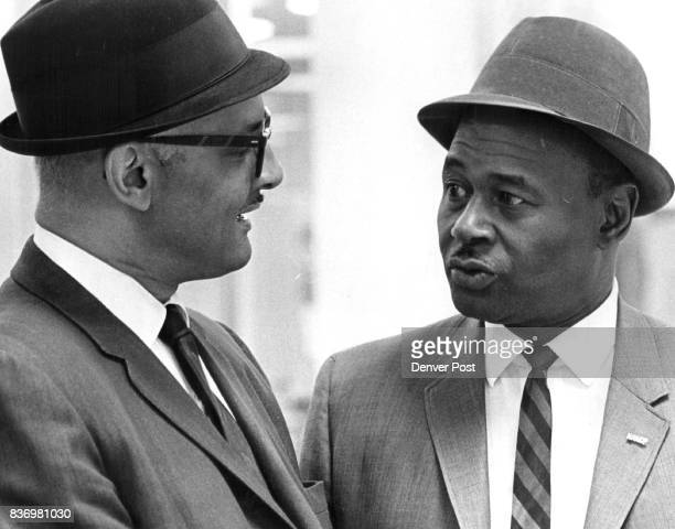 Julius E Williams of Kansas City Left NAACP executive on Denver Task He talks with Quinton TAllen of 3510 Niagara St Denver NAACP official Credit...