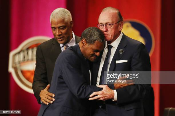Julius Erving and Billy Cunningham comfort Naismith Memorial Basketball Hall of Fame Class of 2018 enshrinee Maurice Cheeks during the 2018...