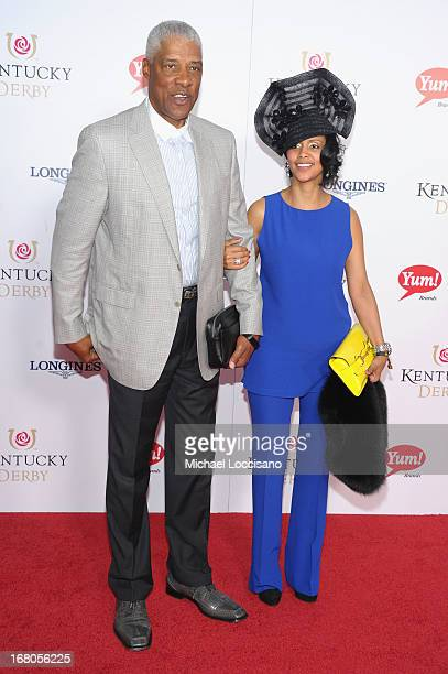 Julius Erving and Dorys Madden attend the 139th Kentucky Derby at Churchill Downs on May 4 2013 in Louisville Kentucky