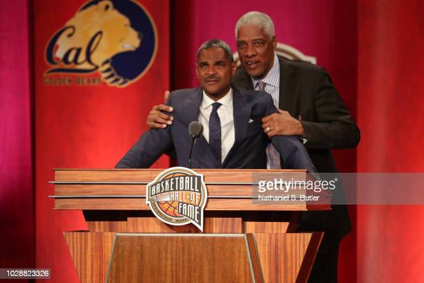 Julius Erving comforts Inductee Maurice Cheeks during the 2018 Basketball Hall of Fame Enshrinement Ceremony on September 7 2018 at Symphony Hall in...