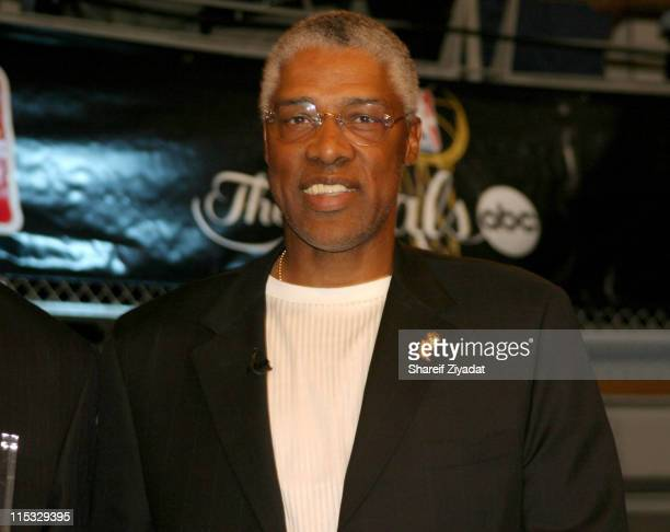 Julius Erving during Got Milk NBA Rookie Of The Year 2004 Presented to LeBron James at NBA Store in New York City New York United States