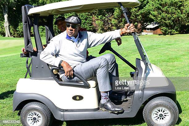 Julius Erving in his golf cart during the Julius Erving Golf Classic at Aronimink Golf Club on September 14 2015 in Newtown Pennsylvania