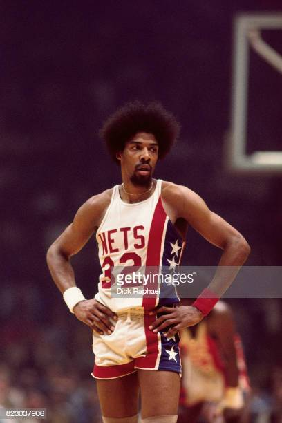 Julius Erving of the New Jersey Nets looks on during a game against the Boston Celtics circa 1968 at the Boston Garden in Boston Massachusetts NOTE...