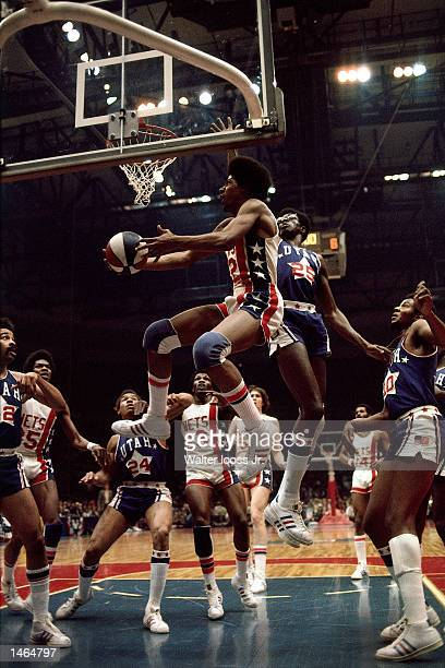 Julius Erving of the New York Nets goes for a layup against the Utah Stars during the ABA game at Nassau Veterans Memorial Coliseum in Uniondale NY...