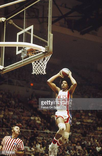 Julius Erving of the New York Nets jumps and shoots during a game at the Nassau Coliseum circa 1970's in Uniondale New York