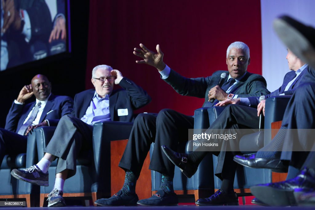 Julius Erving speaks during the ABA 50th Reunion on April 7, 2018 at the Bankers Life Fieldhouse in Indianapolis, Indiana.