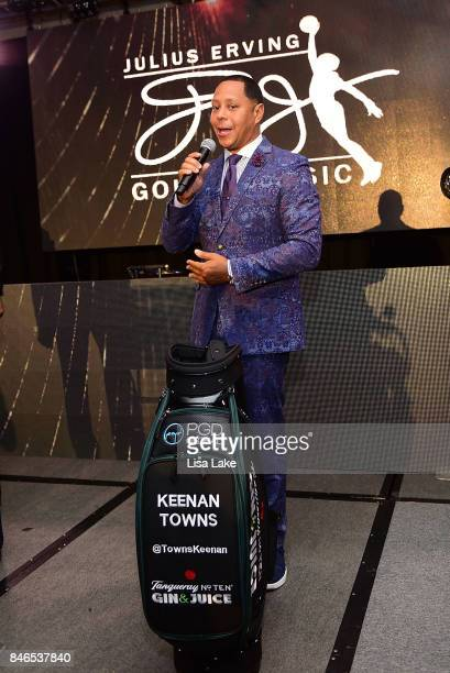 Julius Erving suprises Keenan Towns with Julius Erving Golf Classic branded golf bag during the Erving Golf Classic Black Tie Ball sponsored by Delta...
