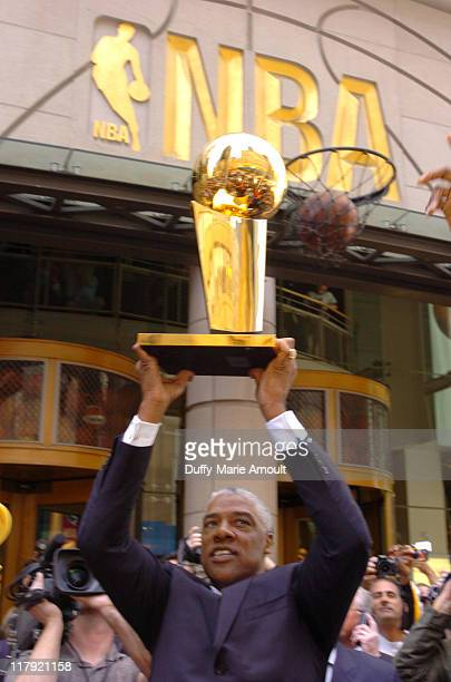 Julius Erving with the 2005 Larry O'Brien NBA Championship Trophy