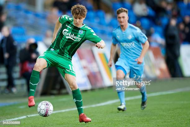 Julius Eskesen of OB Odense controls the ball during the Danish Alka Superliga match between Randers FC and OB Odense at BioNutria Park Randers on...