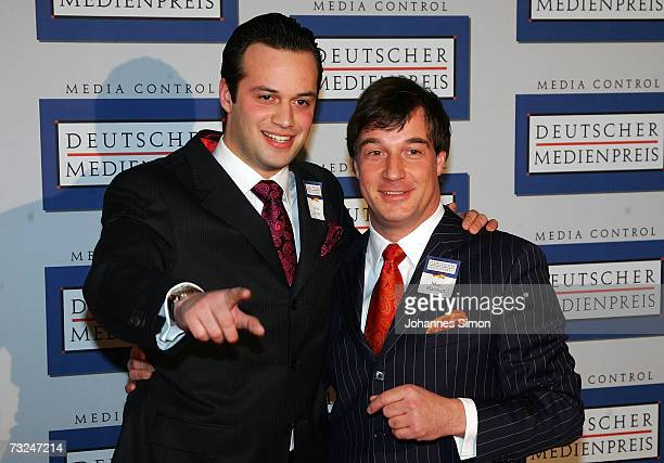 Julius Hilger and Marc Marshallarrive at the German Media Awards at the Congress Hall on February 7 2007 in BadenBaden Germany