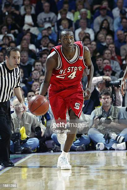 Julius Hodge of North Carolina State drives the ball during the semifinal game of the ACC Tournament against Wake Forest on March 15 2003 at the...