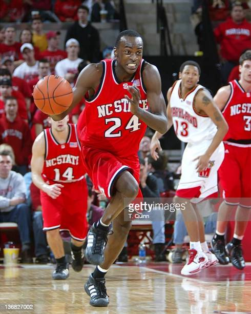 Julius Hodge of North Carolina State in action during a game against University of Maryland at Comcast Center in College Park Maryland on January 23,...