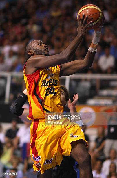 Julius Hodge of the Melbourne Tigers lays up the ball during the round 16 NBL match between the New Zealand Breakers and the Melbourne Tigers at the...