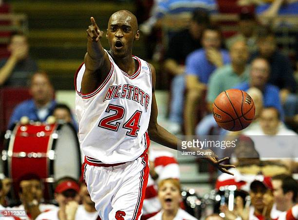 Julius Hodge of the North Carolina State Wolfpack celebrates after a basket during the first round game of the NCAA Division I Men's Basketball...