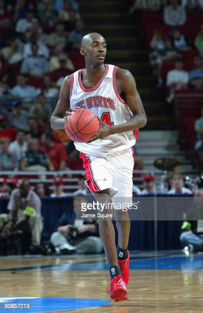 Julius Hodge of the North Carolina State Wolfpack moves the ball during the first round game of the NCAA Basketball Tournament against the...