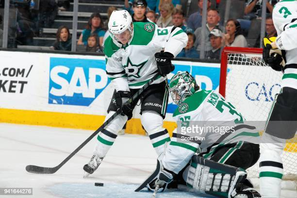 Julius Honka and Mike McKenna of the Dallas Stars protect the net against the San Jose Sharks at SAP Center on April 3 2018 in San Jose California