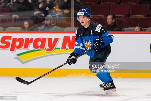 Julius Honka of Team Finland skates during the 2015 IIHF World Junior Hockey Championship game against Team Slovakia at the Bell Centre on December...