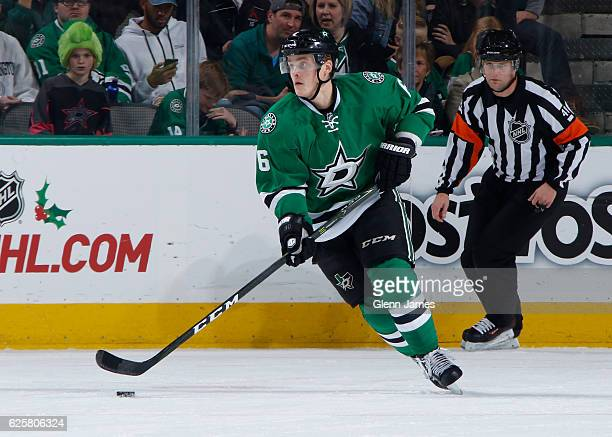 Julius Honka of the Dallas Stars handles the puck against the Vancouver Canucks at the American Airlines Center on November 25 2016 in Dallas Texas