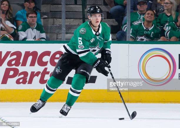 Julius Honka of the Dallas Stars handles the puck against the Colorado Avalanche at the American Airlines Center on October 14 2017 in Dallas Texas