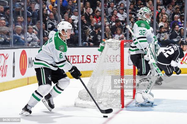 Julius Honka of the Dallas Stars handles the puck during a game against the Los Angeles Kings at STAPLES Center on April 7 2018 in Los Angeles...