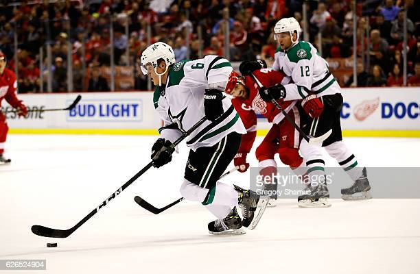 Julius Honka of the Dallas Stars heads up ice while playing the Detroit Red Wings at Joe Louis Arena on November 29 2016 in Detroit Michigan