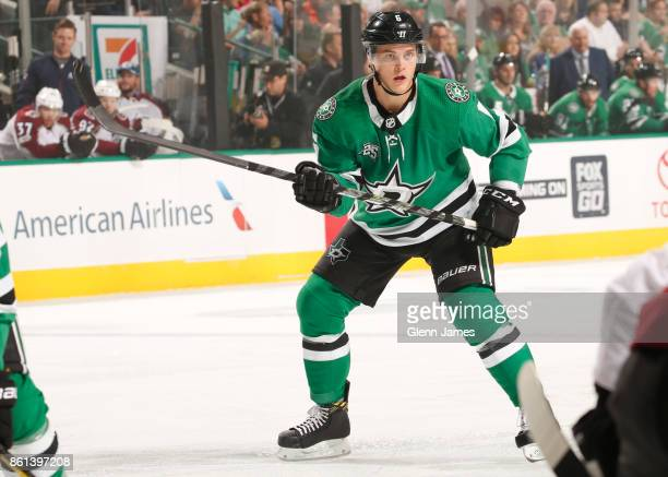Julius Honka of the Dallas Stars skates against the Colorado Avalanche at the American Airlines Center on October 14 2017 in Dallas Texas