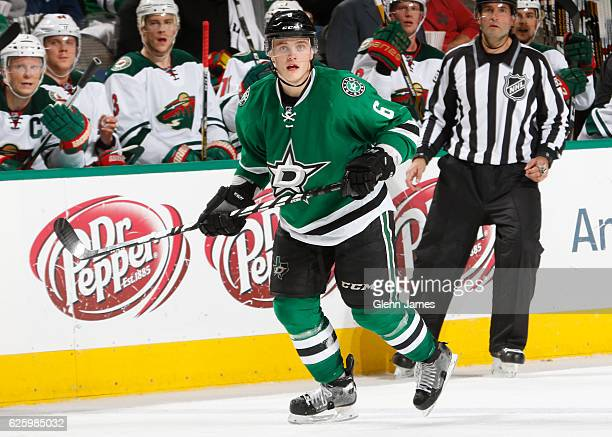 Julius Honka of the Dallas Stars skates against the Minnesota Wild at the American Airlines Center on November 21 2016 in Dallas Texas