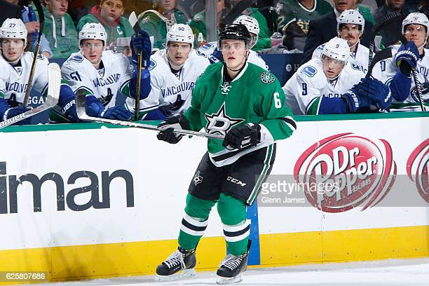 Julius Honka of the Dallas Stars skates against the Vancouver Canucks at the American Airlines Center on November 25 2016 in Dallas Texas