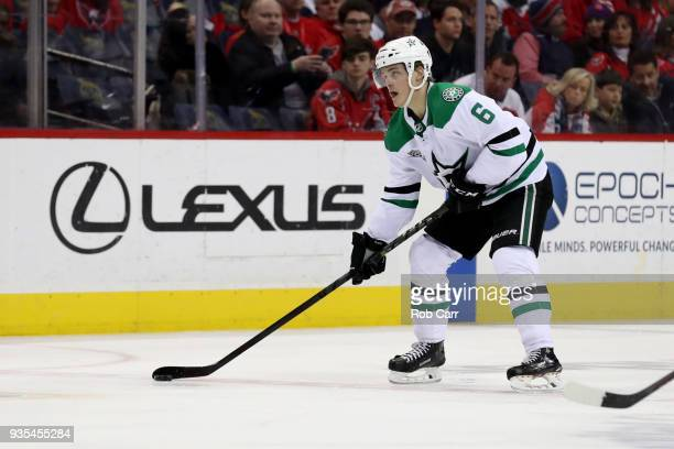 Julius Honka of the Dallas Stars skates with the puck against the Washington Capitals at Capital One Arena on March 20 2018 in Washington DC