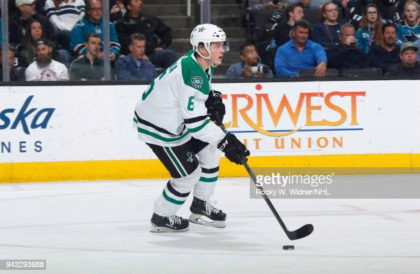 Julius Honka of the Dallas Stars skates with the puck against the San Jose Sharks at SAP Center on April 3 2018 in San Jose California Julius Honka