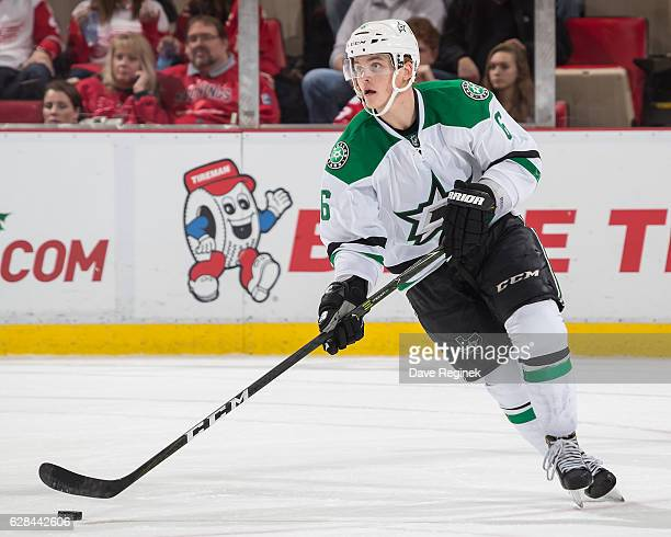 Julius Honka of the Dallas Stars turns up ice with the puck during an NHL game against the Detroit Red Wings at Joe Louis Arena on November 29 2016...