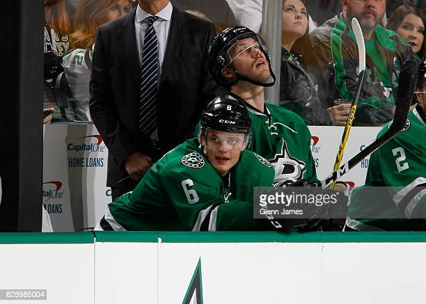 Julius Honka of the Dallas Stars watches the action from the bench against the Minnesota Wild at the American Airlines Center on November 21 2016 in...
