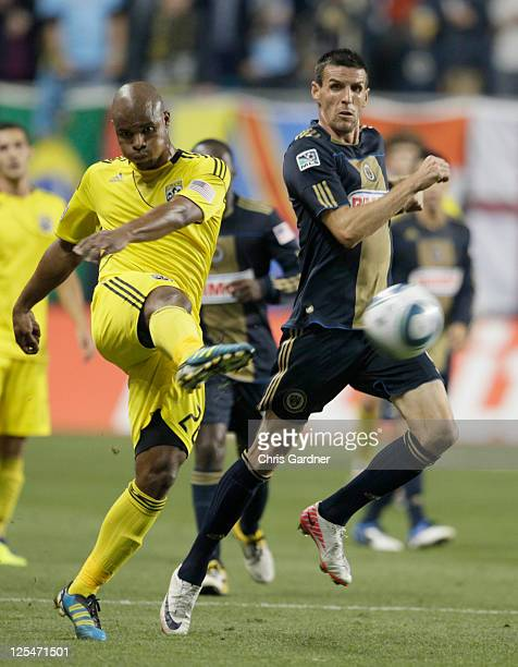 Julius James of the Columbus Crew clears the ball away from Sebastien Le Toux of the Philadelphia Union during an MLS soccer game September 17 2011...