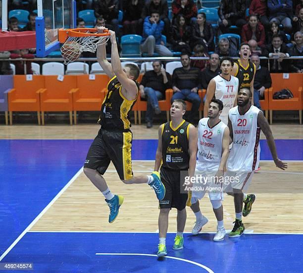 Julius Jucikas of BC Siauliai dunks the ball against Usak Sportif during FIBA EuroChallenge Group H basketball match between Usak Sportif and BC...