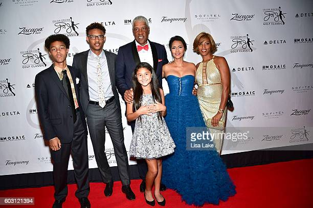 Julius Julietta Dorys Justin and Jules and Jazmin Erving attend the Julius Erving Red Carpet Pairings Event at Sofitel Hotel on September 11 2016 in...