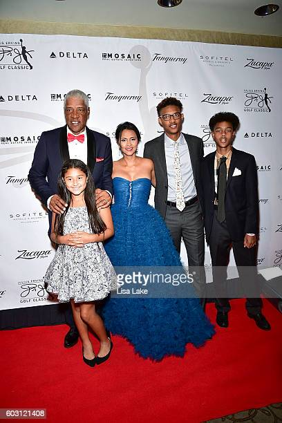 Julius Julietta Dorys Justin and Jules Erving attend the Julius Erving Red Carpet Pairings Event at Sofitel Hotel on September 11 2016 in...
