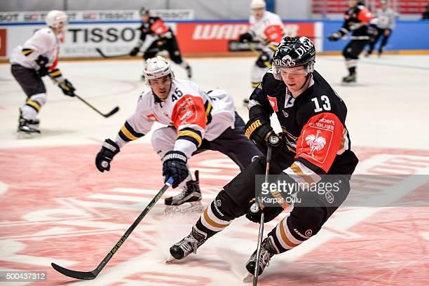 Julius Junttila of Karpat Oulu and Veeti Vainio of Espoo Blues during the Champions Hockey League quarter final between Karpat Oulu and Espoo Blues...