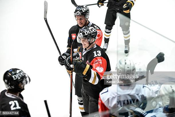 Julius Junttila of Karpat Oulu celebrates scoring his third goal to complete his hat trick during the Champions Hockey League quarter final between...