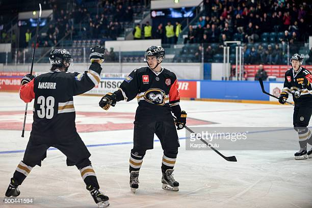 Julius Junttila of Karpat Oulu, who had a role in every goal scoring 3 goals and 2 assists, celebrates after the 3-0 goal that was assisted by Adam...