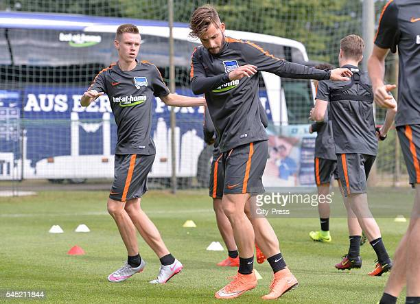 Julius Kade and Marvin Plattenhardt during the training of Hertha BSC on july 6 2016 in Bad Saarow Germany