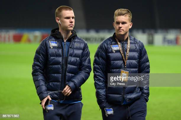 Julius Kade and Maximilian Mittelstaedt of Hertha BSC before the Uefa Europa League Group J match between Hertha BSC and Oestersunds FK on December 7...
